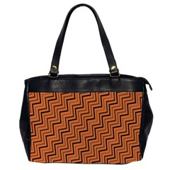 Brown Zig Zag Background Office Handbags (2 Sides)  by BangZart