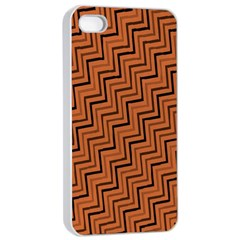 Brown Zig Zag Background Apple Iphone 4/4s Seamless Case (white) by BangZart