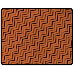 Brown Zig Zag Background Double Sided Fleece Blanket (medium)  by BangZart