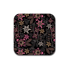 Flower Art Pattern Rubber Square Coaster (4 Pack)  by BangZart