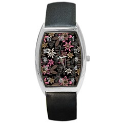 Flower Art Pattern Barrel Style Metal Watch by BangZart