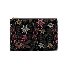 Flower Art Pattern Cosmetic Bag (medium)  by BangZart