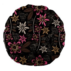 Flower Art Pattern Large 18  Premium Flano Round Cushions by BangZart