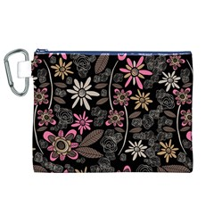 Flower Art Pattern Canvas Cosmetic Bag (xl) by BangZart