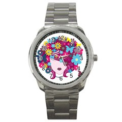 Beautiful Gothic Woman With Flowers And Butterflies Hair Clipart Sport Metal Watch by BangZart