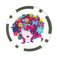 Beautiful Gothic Woman With Flowers And Butterflies Hair Clipart Poker Chip Card Guard by BangZart
