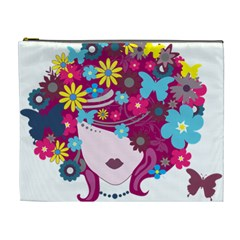 Beautiful Gothic Woman With Flowers And Butterflies Hair Clipart Cosmetic Bag (xl) by BangZart