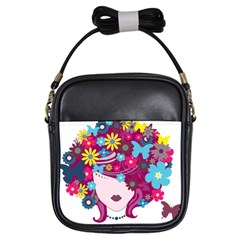 Beautiful Gothic Woman With Flowers And Butterflies Hair Clipart Girls Sling Bags by BangZart