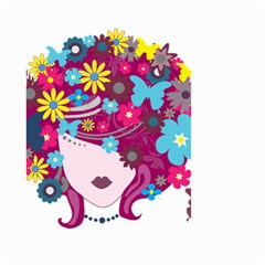 Beautiful Gothic Woman With Flowers And Butterflies Hair Clipart Small Garden Flag (two Sides) by BangZart