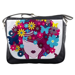 Beautiful Gothic Woman With Flowers And Butterflies Hair Clipart Messenger Bags by BangZart