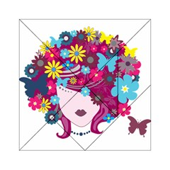 Beautiful Gothic Woman With Flowers And Butterflies Hair Clipart Acrylic Tangram Puzzle (6  X 6 ) by BangZart