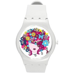 Beautiful Gothic Woman With Flowers And Butterflies Hair Clipart Round Plastic Sport Watch (m) by BangZart