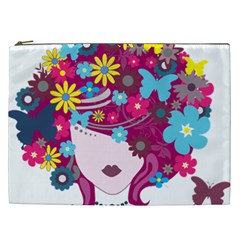 Beautiful Gothic Woman With Flowers And Butterflies Hair Clipart Cosmetic Bag (xxl)  by BangZart