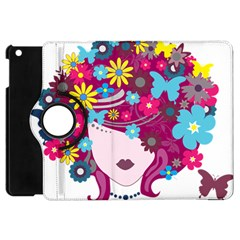 Beautiful Gothic Woman With Flowers And Butterflies Hair Clipart Apple Ipad Mini Flip 360 Case by BangZart