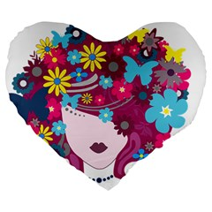 Beautiful Gothic Woman With Flowers And Butterflies Hair Clipart Large 19  Premium Heart Shape Cushions by BangZart