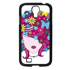 Beautiful Gothic Woman With Flowers And Butterflies Hair Clipart Samsung Galaxy S4 I9500/ I9505 Case (black) by BangZart