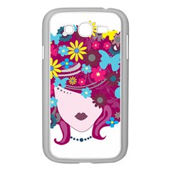 Beautiful Gothic Woman With Flowers And Butterflies Hair Clipart Samsung Galaxy Grand Duos I9082 Case (white) by BangZart