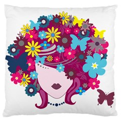 Beautiful Gothic Woman With Flowers And Butterflies Hair Clipart Large Flano Cushion Case (one Side) by BangZart