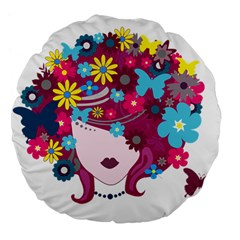 Beautiful Gothic Woman With Flowers And Butterflies Hair Clipart Large 18  Premium Flano Round Cushions