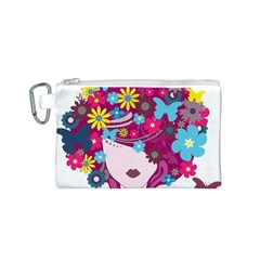 Beautiful Gothic Woman With Flowers And Butterflies Hair Clipart Canvas Cosmetic Bag (s) by BangZart