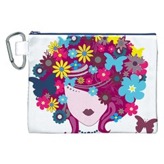 Beautiful Gothic Woman With Flowers And Butterflies Hair Clipart Canvas Cosmetic Bag (xxl) by BangZart