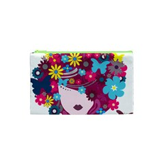 Beautiful Gothic Woman With Flowers And Butterflies Hair Clipart Cosmetic Bag (xs) by BangZart
