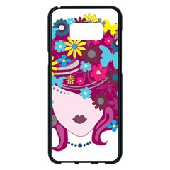 Beautiful Gothic Woman With Flowers And Butterflies Hair Clipart Samsung Galaxy S8 Plus Black Seamless Case by BangZart