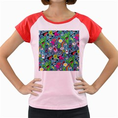Monster Party Pattern Women s Cap Sleeve T Shirt by BangZart