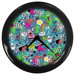 Monster Party Pattern Wall Clocks (Black)