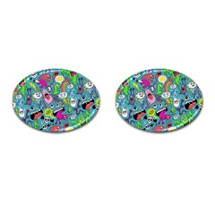 Monster Party Pattern Cufflinks (oval) by BangZart