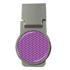 Zig Zag Background Purple Money Clips (round)  by BangZart