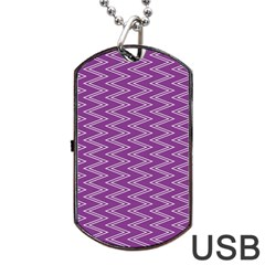 Zig Zag Background Purple Dog Tag Usb Flash (two Sides) by BangZart