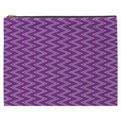 Zig Zag Background Purple Cosmetic Bag (xxxl)  by BangZart