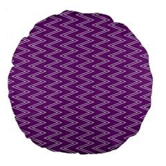 Zig Zag Background Purple Large 18  Premium Flano Round Cushions by BangZart