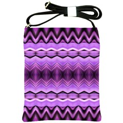 Purple Pink Zig Zag Pattern Shoulder Sling Bags by BangZart