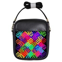 3d Fsm Tessellation Pattern Girls Sling Bags by BangZart