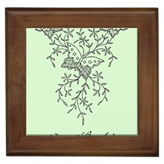 Illustration Of Butterflies And Flowers Ornament On Green Background Framed Tiles by BangZart