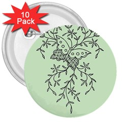 Illustration Of Butterflies And Flowers Ornament On Green Background 3  Buttons (10 Pack)  by BangZart