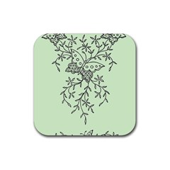 Illustration Of Butterflies And Flowers Ornament On Green Background Rubber Square Coaster (4 Pack)  by BangZart