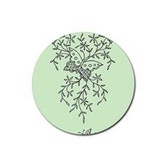 Illustration Of Butterflies And Flowers Ornament On Green Background Rubber Round Coaster (4 Pack)  by BangZart