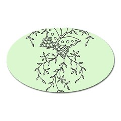 Illustration Of Butterflies And Flowers Ornament On Green Background Oval Magnet by BangZart