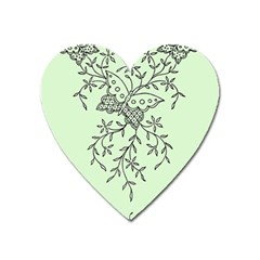 Illustration Of Butterflies And Flowers Ornament On Green Background Heart Magnet by BangZart