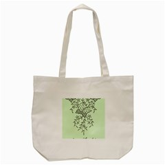 Illustration Of Butterflies And Flowers Ornament On Green Background Tote Bag (cream) by BangZart