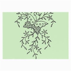 Illustration Of Butterflies And Flowers Ornament On Green Background Large Glasses Cloth (2 Side) by BangZart