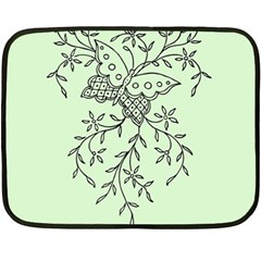 Illustration Of Butterflies And Flowers Ornament On Green Background Fleece Blanket (mini) by BangZart