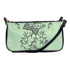 Illustration Of Butterflies And Flowers Ornament On Green Background Shoulder Clutch Bags by BangZart