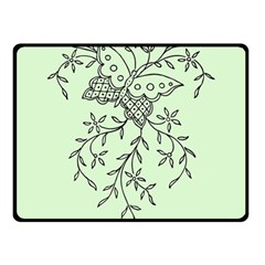 Illustration Of Butterflies And Flowers Ornament On Green Background Fleece Blanket (small) by BangZart