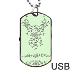 Illustration Of Butterflies And Flowers Ornament On Green Background Dog Tag Usb Flash (two Sides) by BangZart