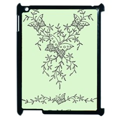 Illustration Of Butterflies And Flowers Ornament On Green Background Apple Ipad 2 Case (black) by BangZart