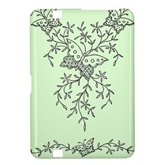 Illustration Of Butterflies And Flowers Ornament On Green Background Kindle Fire Hd 8 9  by BangZart
